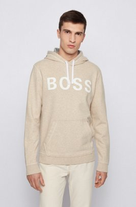 Relaxed-fit logo hoodie in organic cotton and hemp, Beige