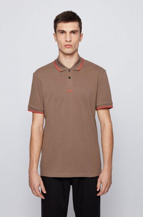 Cotton-piqué polo shirt with seven-layer logo, Beige