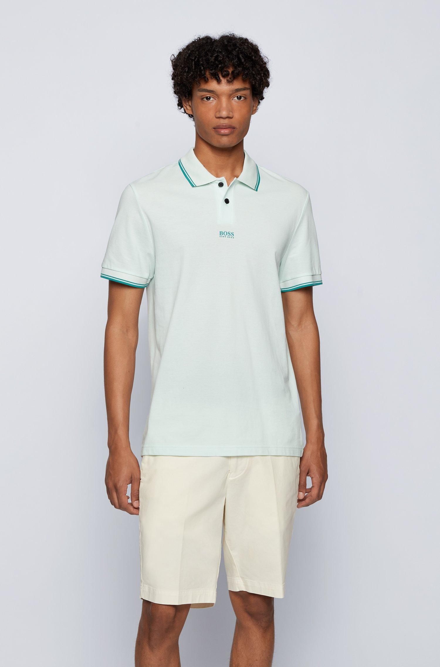Cotton-piqué polo shirt with seven-layer logo, Light Green
