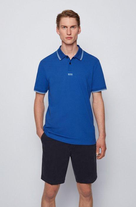 Cotton-piqué polo shirt with seven-layer logo, Blue