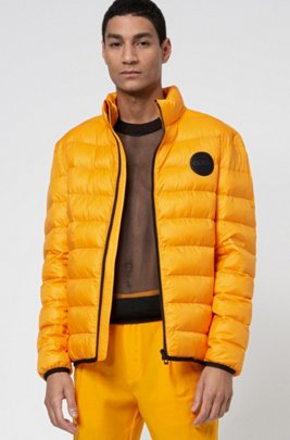 Recycled-fabric puffer jacket with reverse-logo patch, Orange