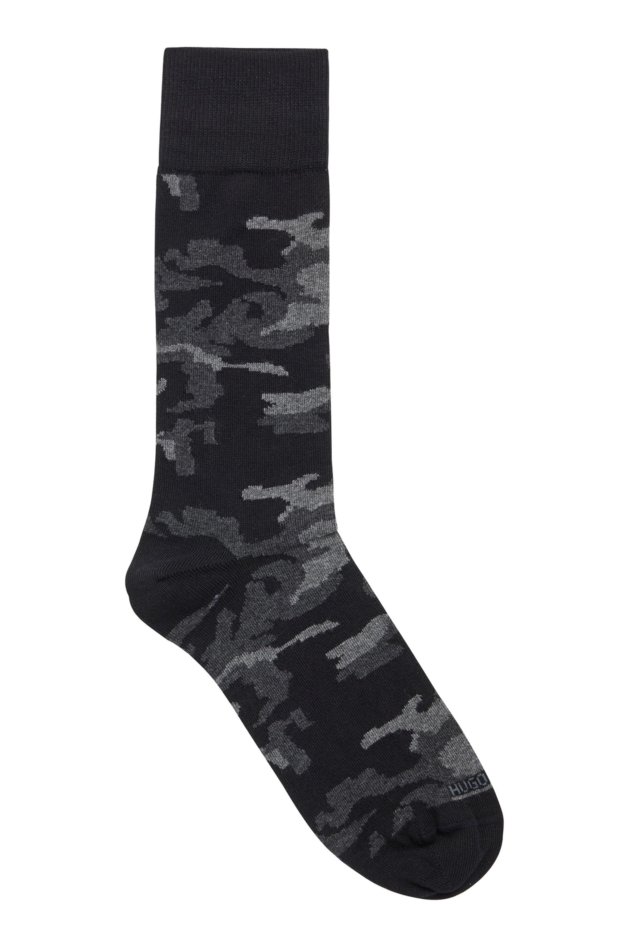 Chaussettes mi-mollet en coton stretch mélangé à motif camouflage, Noir