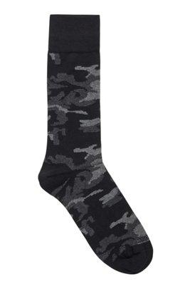 Camouflage regular-length socks in a stretch-cotton blend, Black