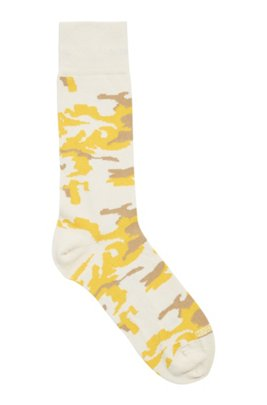 Camouflage regular-length socks in a stretch-cotton blend, White
