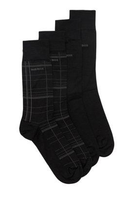 Socken aus merzerisiertem, elastischem Baumwoll-Mix im Zweier-Pack, Schwarz