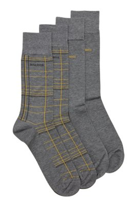 Two-pack of socks in a mercerised-cotton blend, Grey