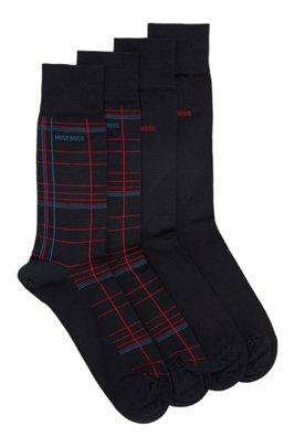 Two-pack of socks in a mercerised-cotton blend, Black