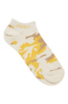 Cotton-blend ankle socks with camouflage pattern, White