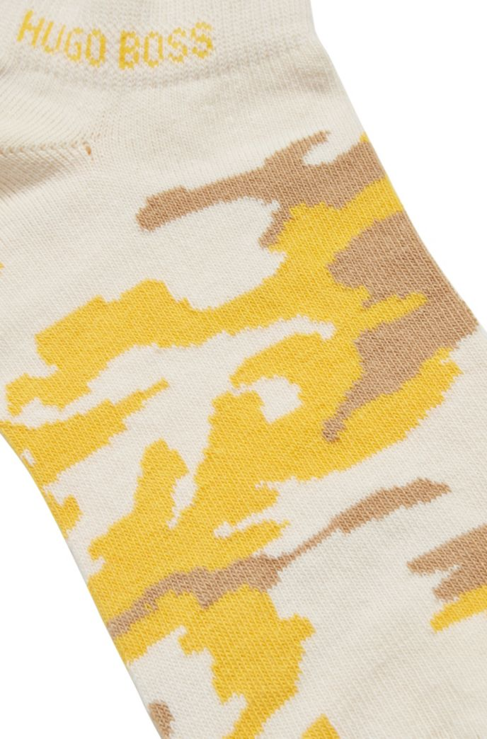 Cotton-blend ankle socks with camouflage pattern