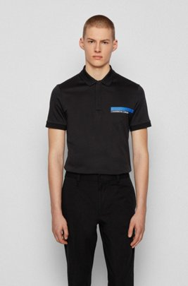 Slim-fit polo shirt in single-jersey cotton, Black
