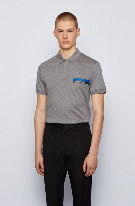 Slim-fit polo shirt in single-jersey cotton, Grey