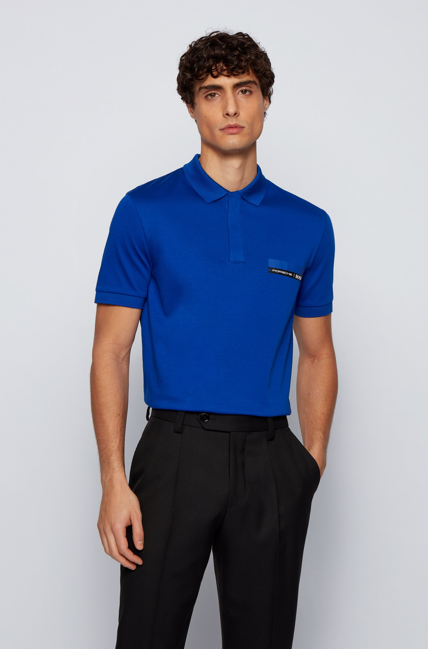 Slim-fit polo shirt in single-jersey cotton, Blue