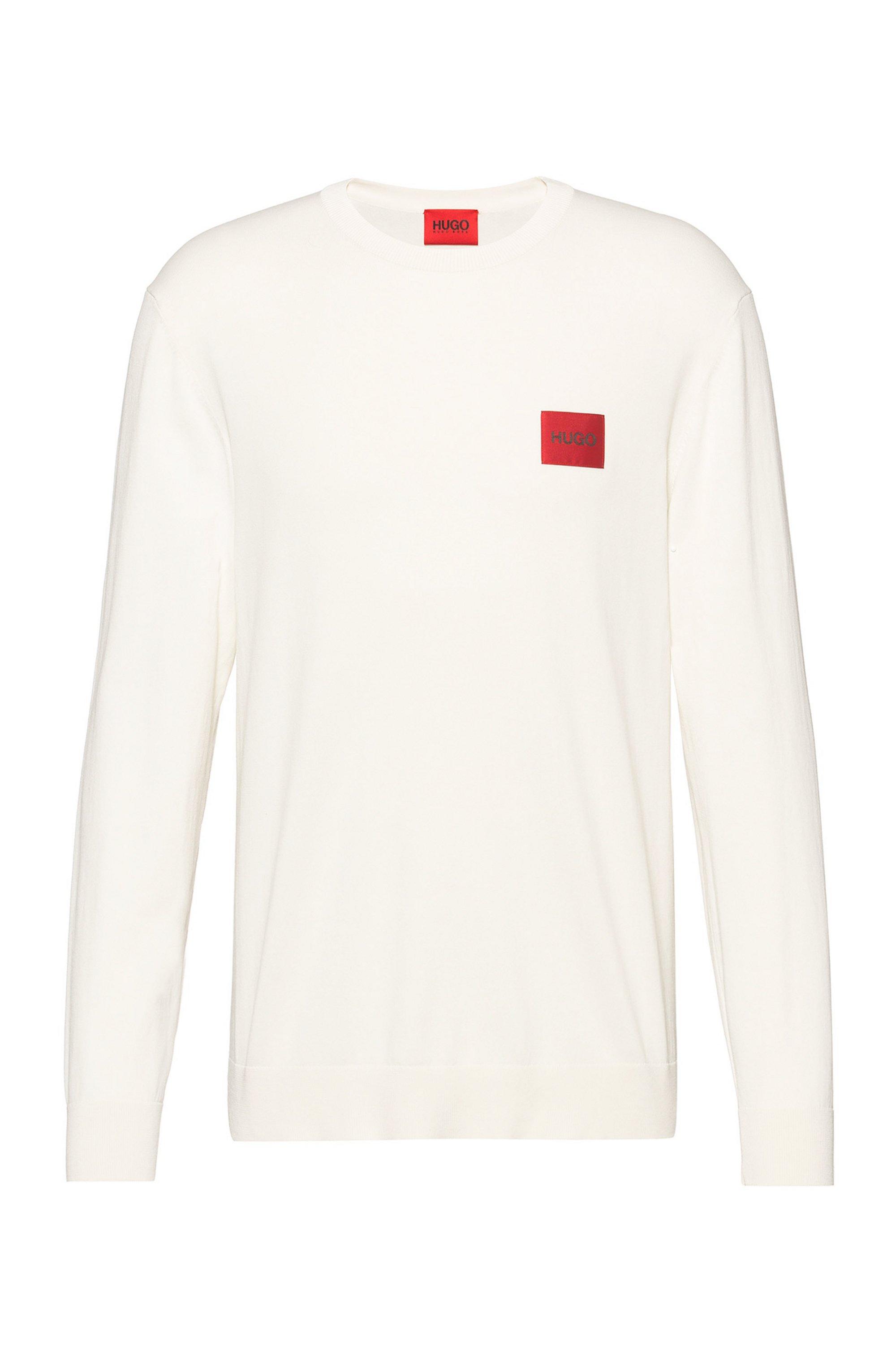 Trui met logolabel van een katoenmix met stretch, Wit