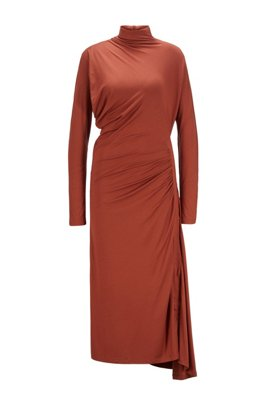 Stretch-jersey maxi dress with asymmetric hem, Brown