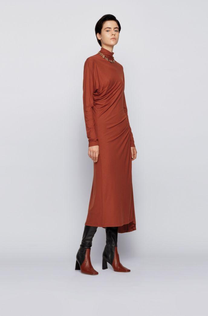 Stretch-jersey maxi dress with asymmetric hem