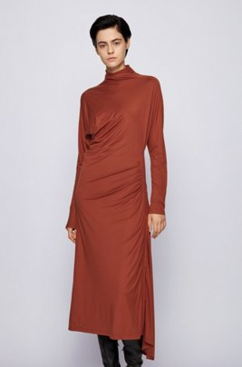 Stretch-jersey maxi dress with asymmetric hem, Brown