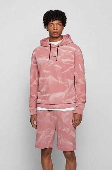 漂洗喷涂处理宽松版法国毛圈布连帽衫,  680_Light/Pastel Pink