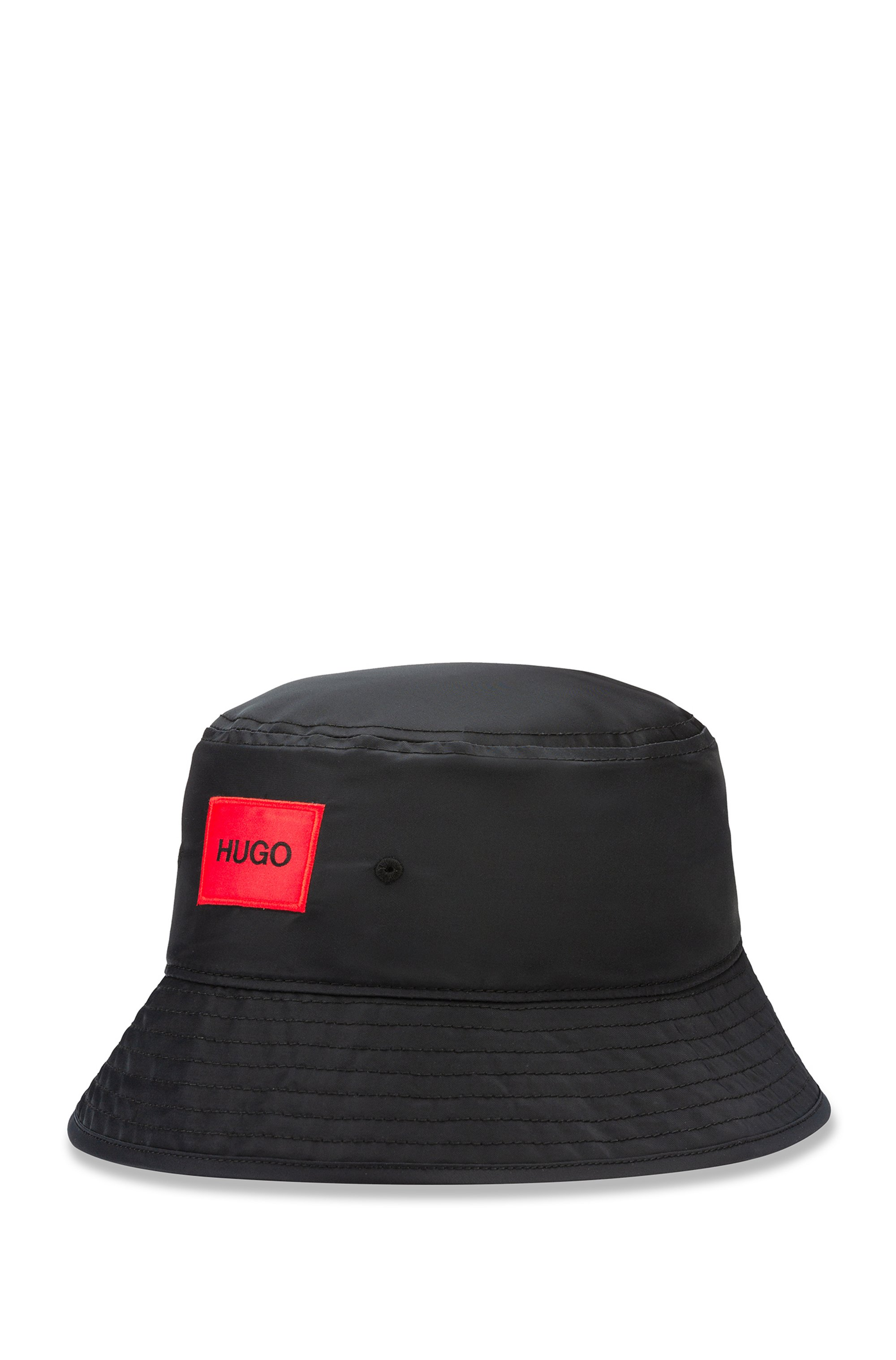 Bucket hat with red reverse-logo patch, Black