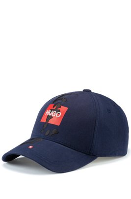 Cotton-twill cap with logo and calligraphy artwork, Dark Blue
