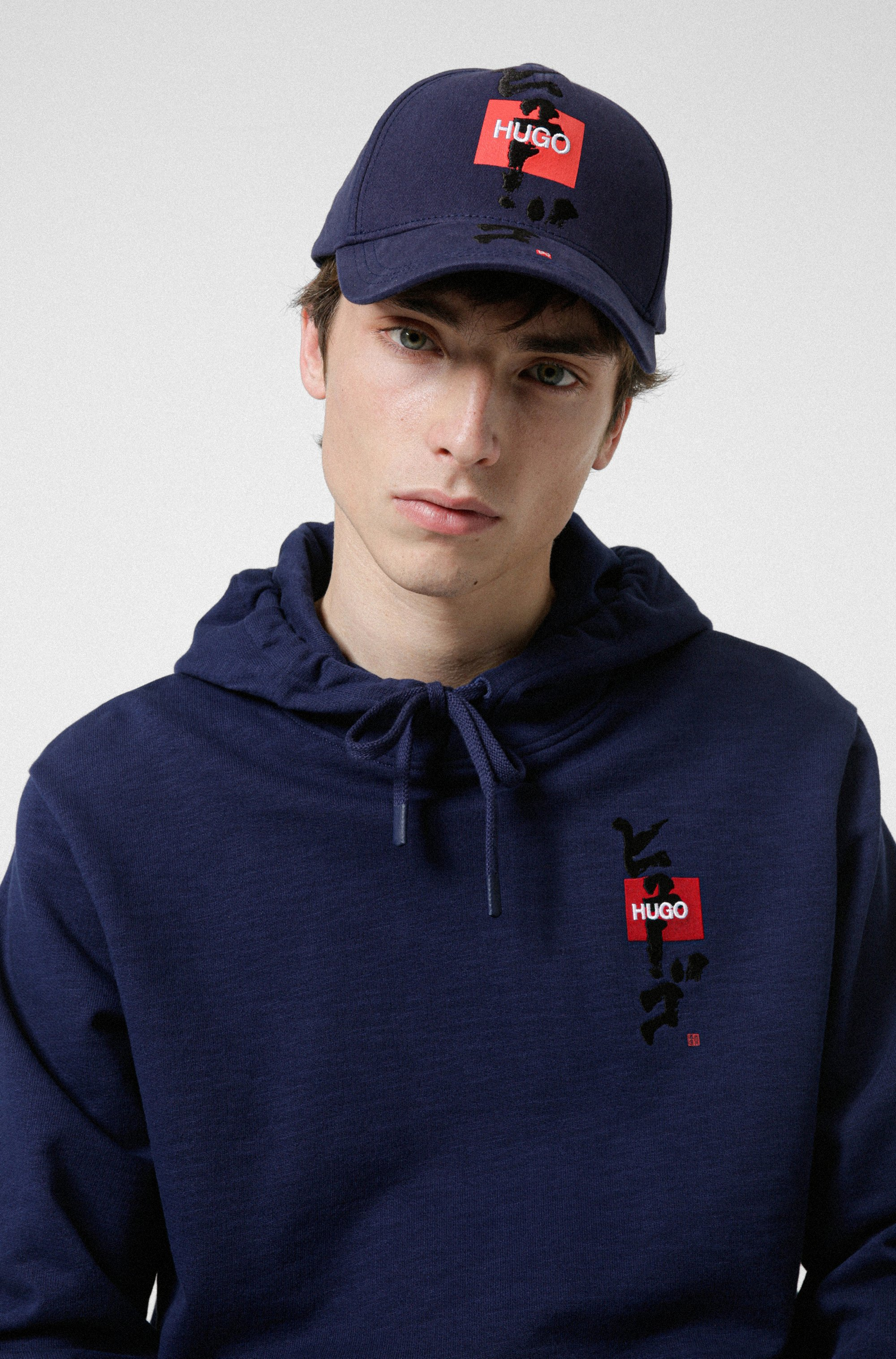 Cotton-twill cap with logo and calligraphy artwork