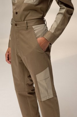 Unisex straight-fit cargo trousers with contrast pockets, Beige