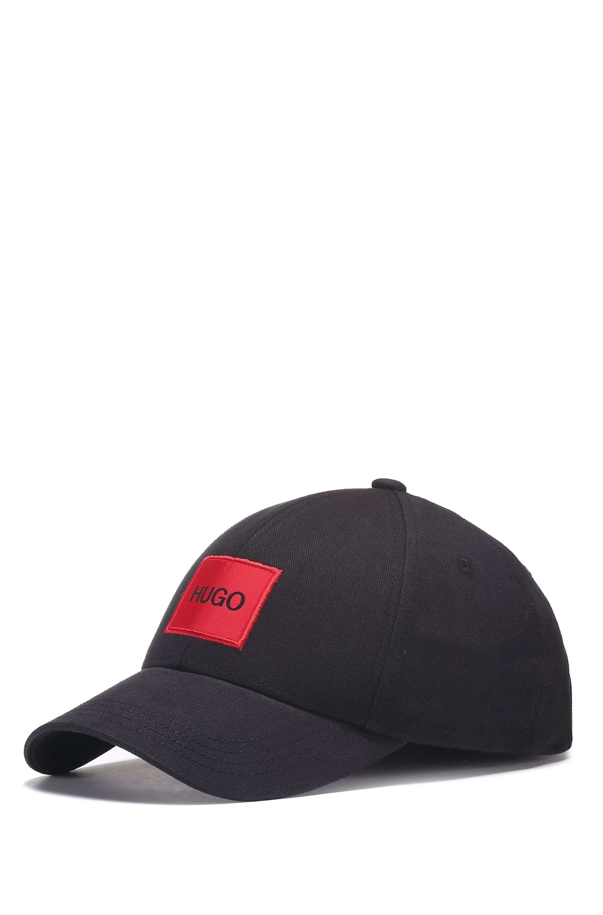 Casquette en twill de coton avec étiquette logo rouge, Noir