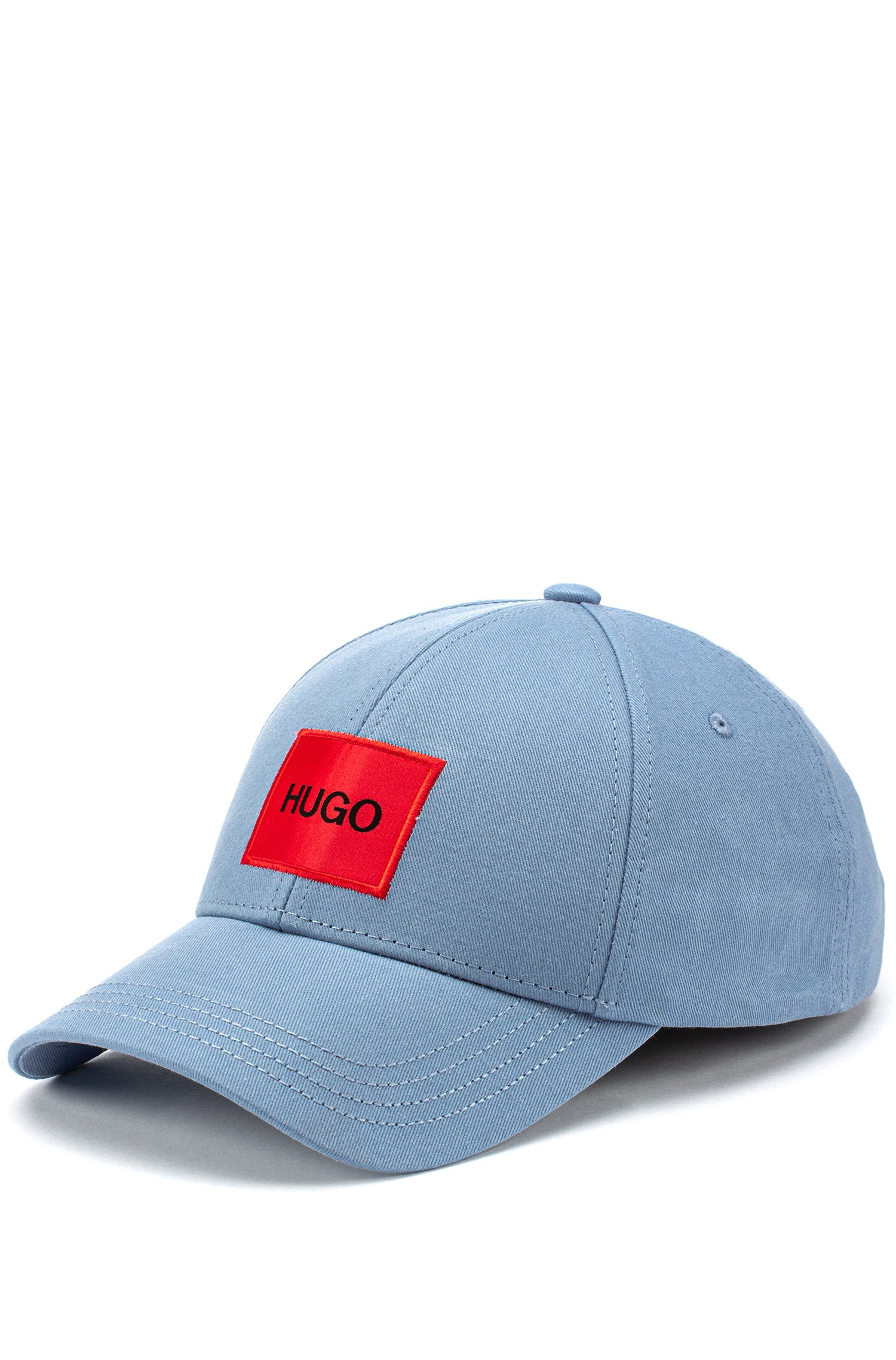 Cap in cotton twill with red logo label, Blue