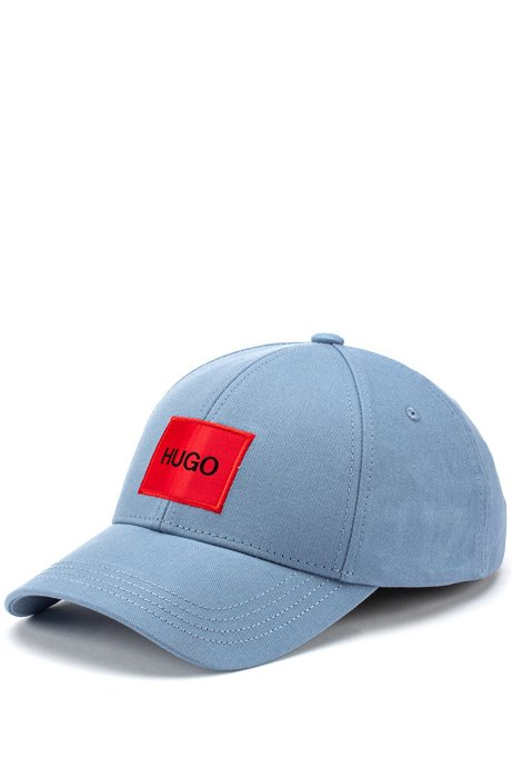 Casquette en twill de coton avec étiquette logo rouge, Bleu