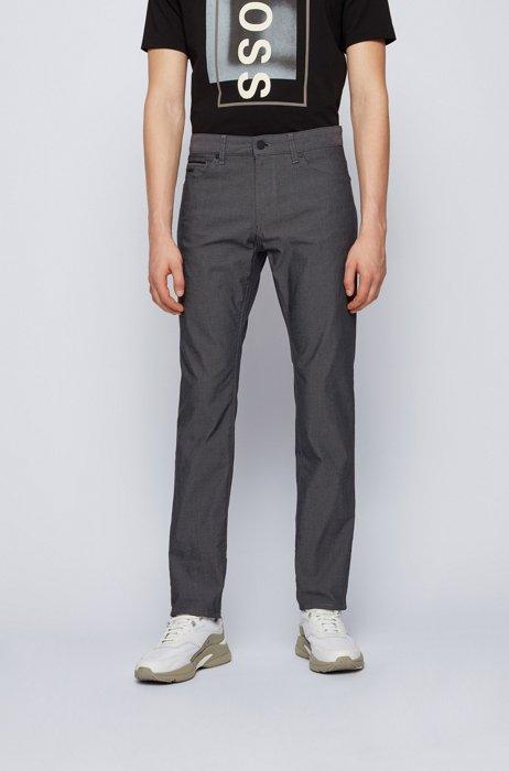 Regular-fit jeans in Italian pinpoint denim with stretch, Dark Grey