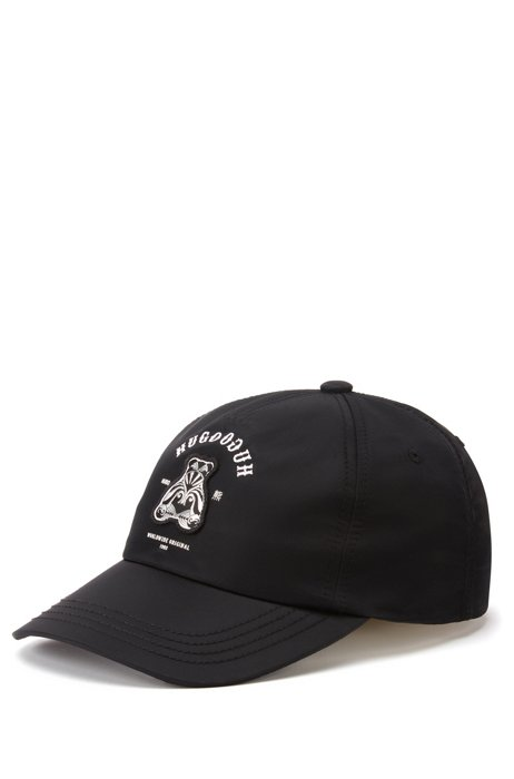 Twill cap with bear motif and mirrored lettering, Black