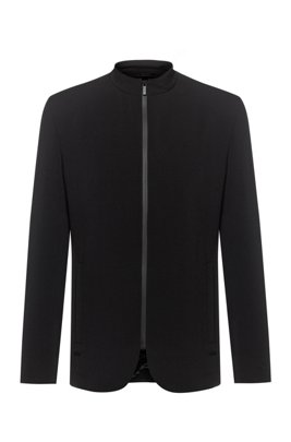 Slim-fit jacket with zip-through front, Black