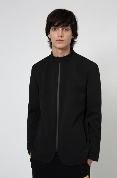 Slim-fit jacket with zip-through front, Black