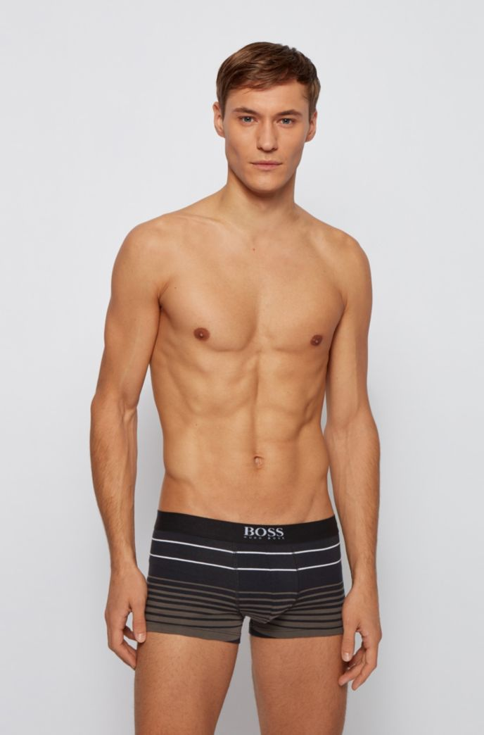 Regular-rise trunks in stretch cotton with variegated stripes