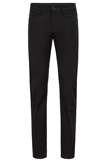 意大利弹力棉缎修身牛仔裤,  001_Black
