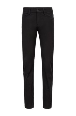 Slim-fit jeans in Italian stretch-cotton satin, Black
