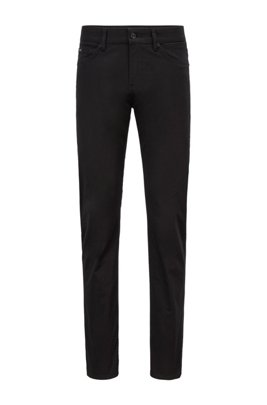 Slim-fit jeans in Italian stretch-cotton satin, Black