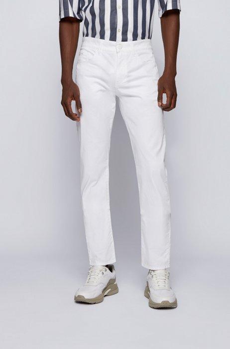 Slim-fit jeans in Italian stretch-cotton satin, White