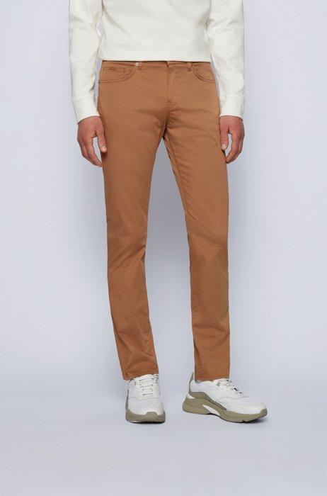 Jeans slim fit in satin di cotone elasticizzato italiano, Beige