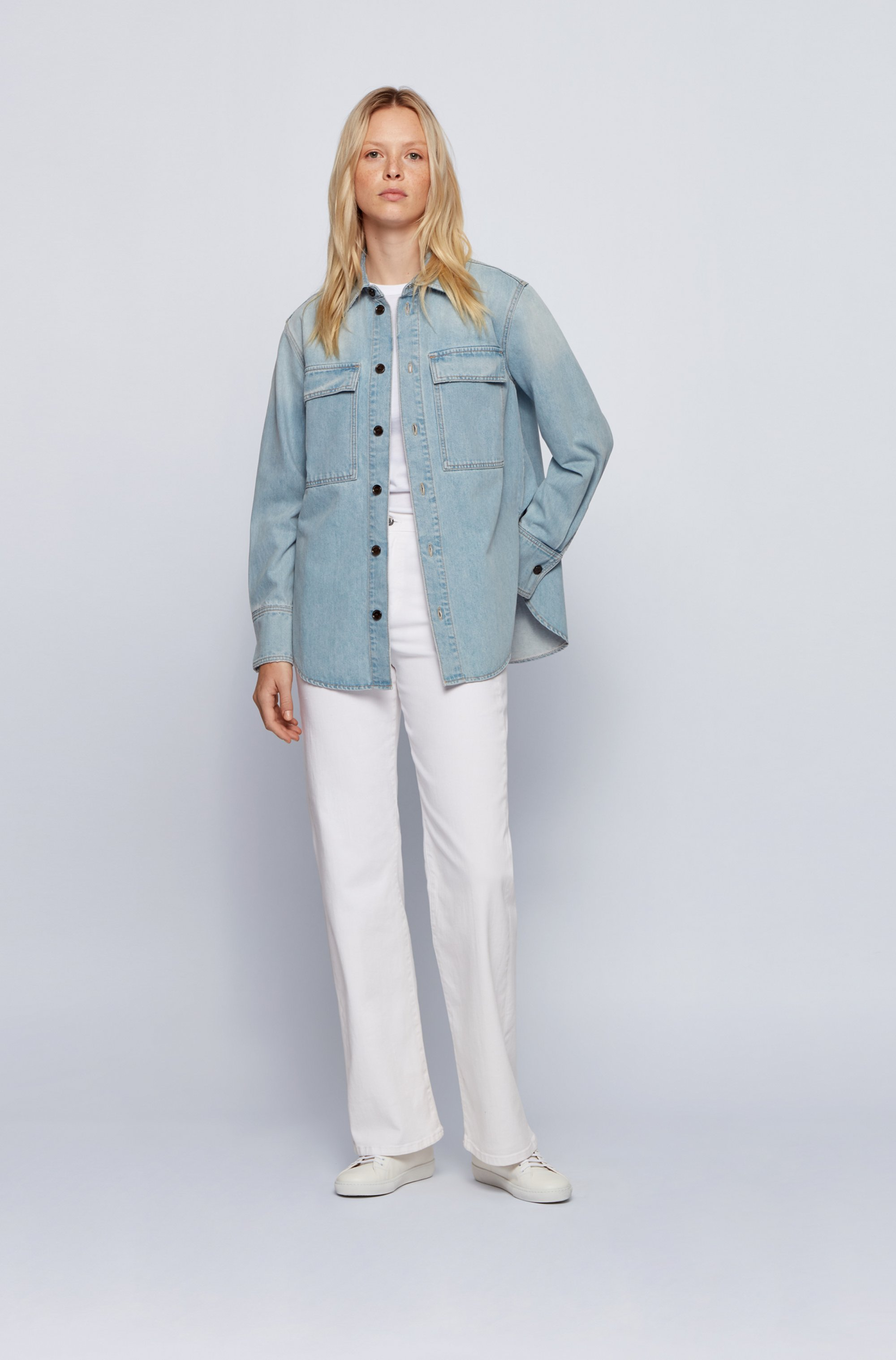 Relaxed-fit overshirt in light-blue stretch denim