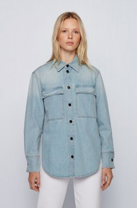 Relaxed-fit overshirt in light-blue stretch denim, Blue
