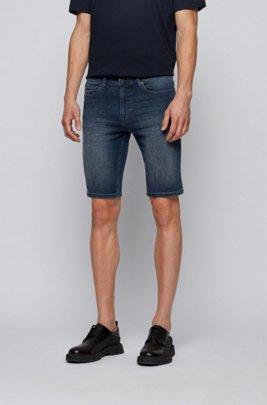 Slim-fit shorts in dark-blue super-stretch denim, Dark Blue