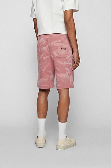 漂洗喷涂处理棉质混纺面料短裤,  680_Light/Pastel Pink