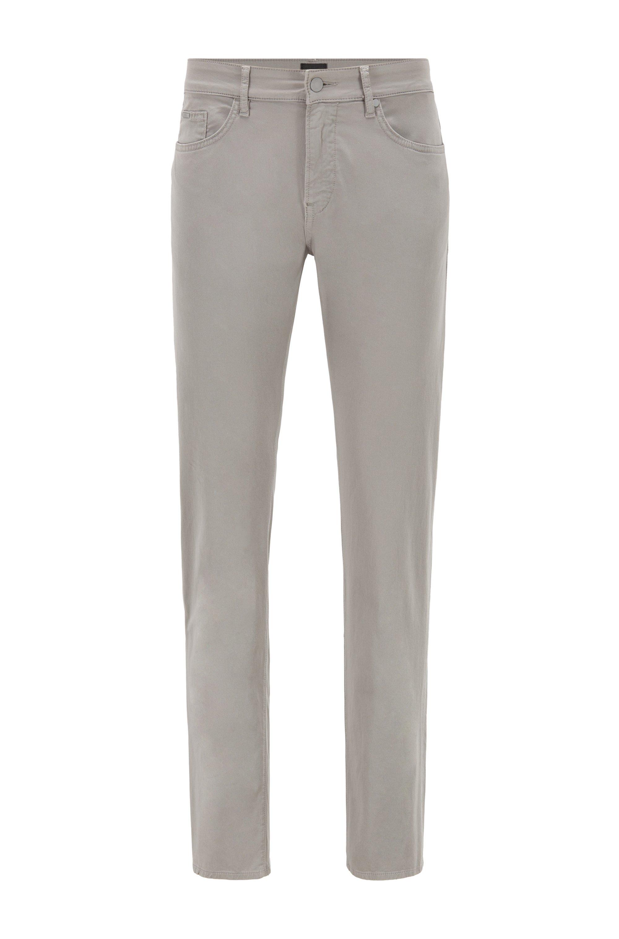 Slim-Fit Jeans aus Stretch-Denim mit Paper-Touch-Effekt, Hellgrau