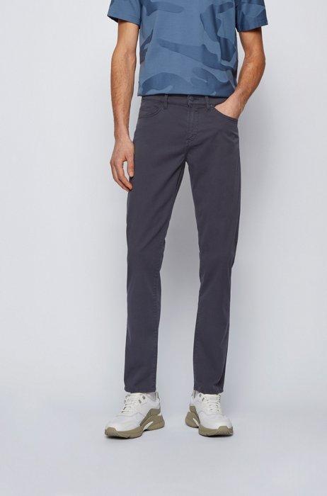 Slim-fit jeans van papierachtig stretchdenim, Donkerblauw