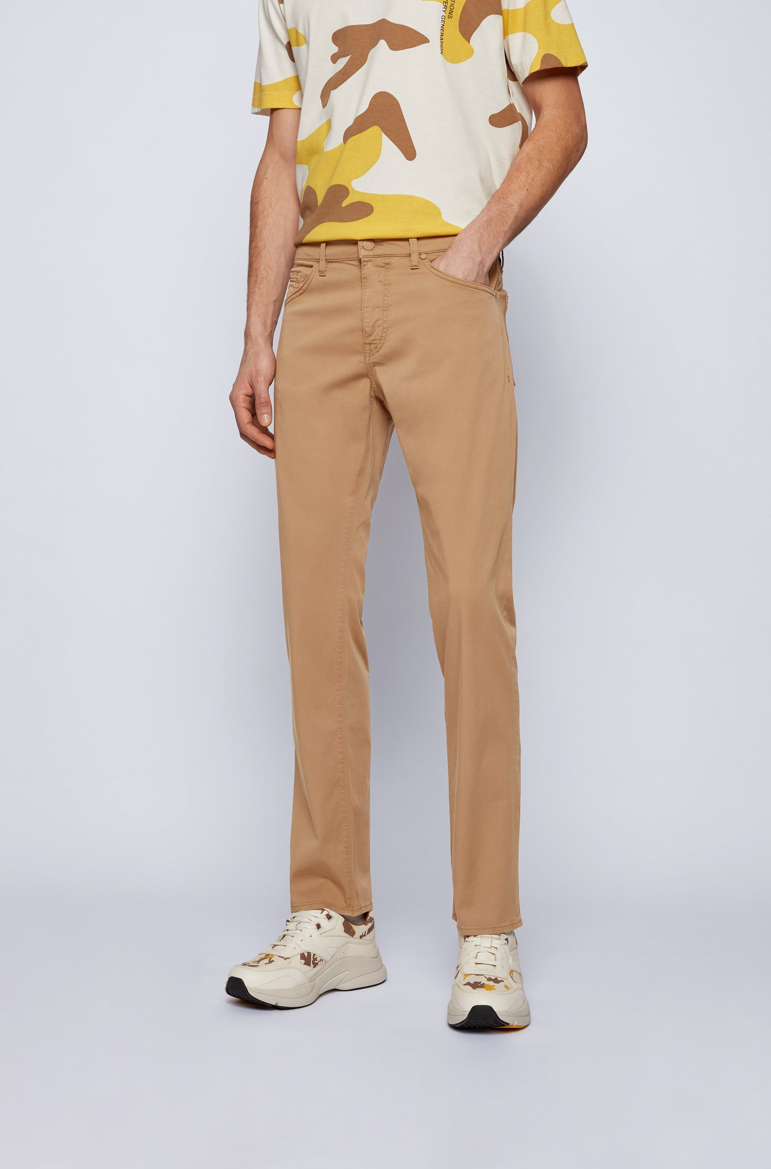 Regular-fit jeans in lightweight paper-touch stretch denim, Beige