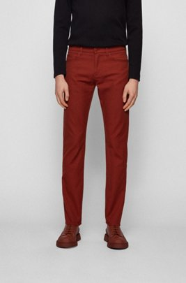 Slim-fit jeans in dark-blue stretch denim, Brown