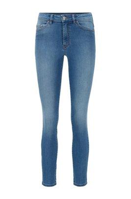 Skinny-fit jeans in bright-blue super-stretch denim, Blue