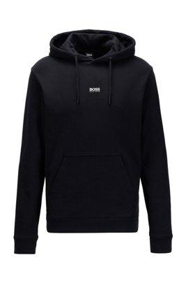 Relaxed-Fit Kapuzen-Sweatshirt aus French Terry mit Logo, Schwarz