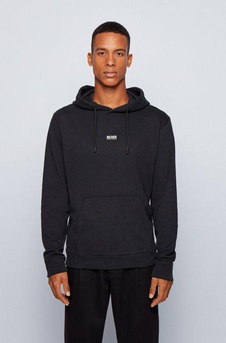 Sweat à capuche Relaxed Fit en molleton avec logo, Noir