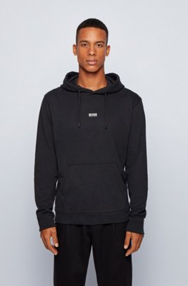 Relaxed-fit hooded sweatshirt in French terry with logo, Black